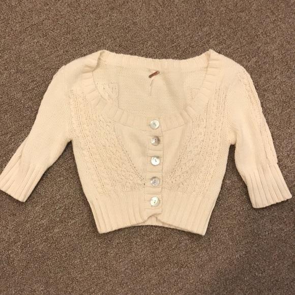 77% off Free People Sweaters - GREE PEOPLE COTTON CREAM SHRUG ...